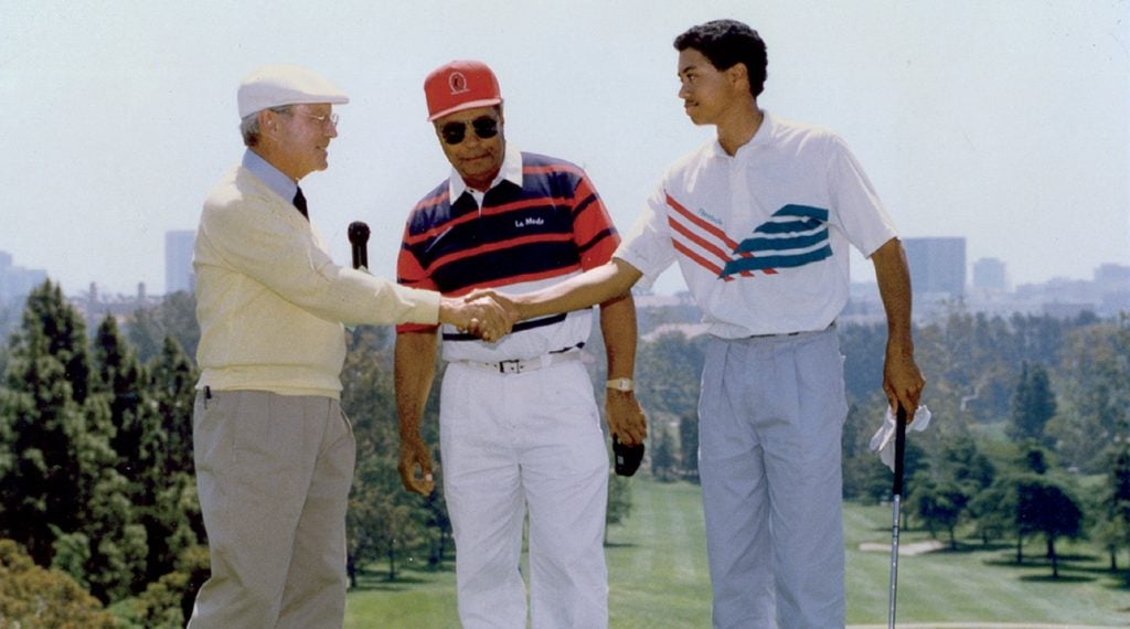 In 1991, Merrins hosted then 15-year-old Tiger Woods and his father, Earl, at Bel-Air.