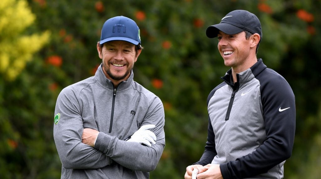 Mark Wahlberg and Rory McIlory share a laugh during the Genesis Open Pro-Am.