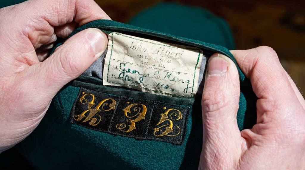 George King's name, size and tailor can be found on the inner pocket