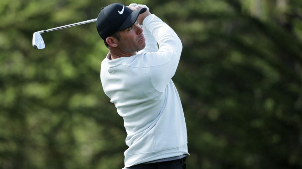Paul Casey holds the lead at Pebble Beach after 54 holes.
