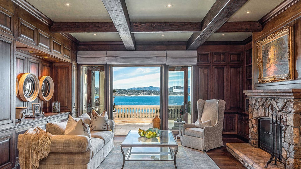 The great room has incredible ocean views and vaulted ceilings.