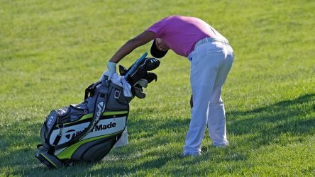 Player looking in bag