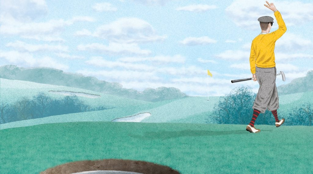 Illustration of main walking away from ball in the hole