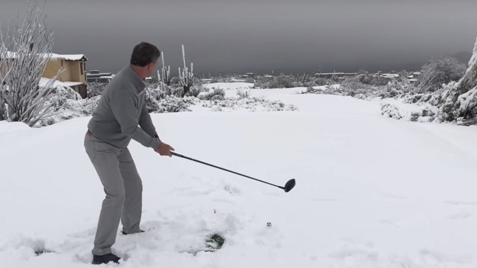 Troon North is just one of several Phoenix area golf courses blanketed by snow.