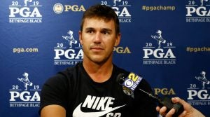 Brooks Koepka speaks to the media in New York while promoting the 2019 PGA Championship