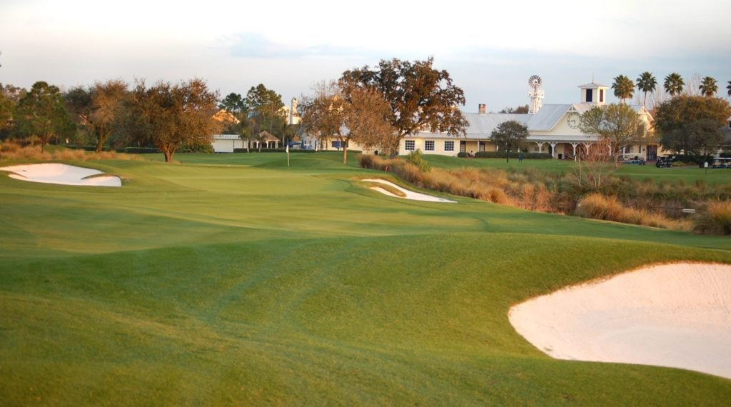 Celebration Golf Club has an iconic windmill located next to the clubhouse.