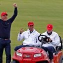 Fred Couples and Tiger Woods pictured at the 2017 Presidents Cup at Liberty National