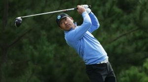 Hosung Choi plays a tee shot during the first round of the 2019 AT&T Pebble Beach Pro-Am
