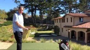 Jim Nantz plays his backyard golf hole designed after Pebble Beach's par-3 7th hole