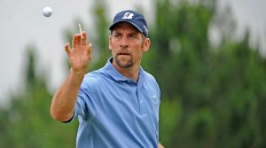 John Smoltz tees off in the Cologuard Classic in Arizona this week.