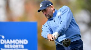 John Smoltz tees off during the final round of the Diamond Resorts Tournament of Champions