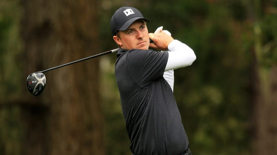 Jordan Spieth tees off during the second round of the 2019 AT&T Pebble Beach Pro-Am