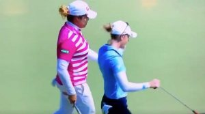 Ariya Jutanugarn and Amy Olson backstopping.