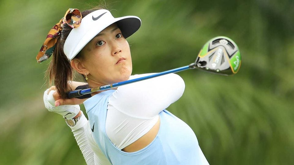 Michelle Wie tees off during the first round of the HSBC Women's World Championship on Thursday. She later withdrew.