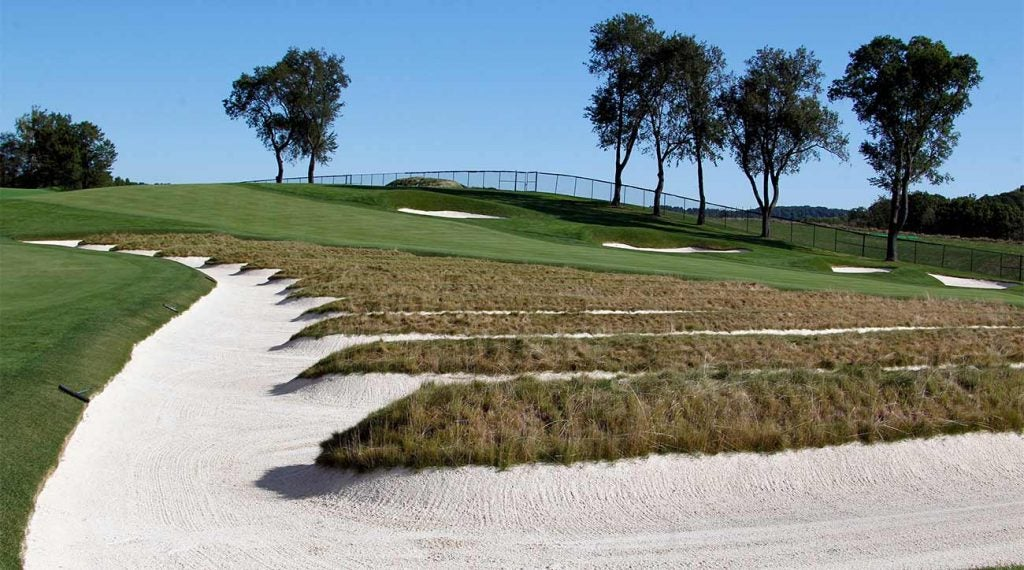 The famous Church Pew bunkers at Oakmont Country Club.