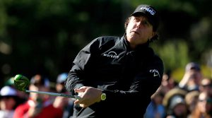 Phil Mickelson hits a drive on Sunday at Pebble Beach Golf Links.