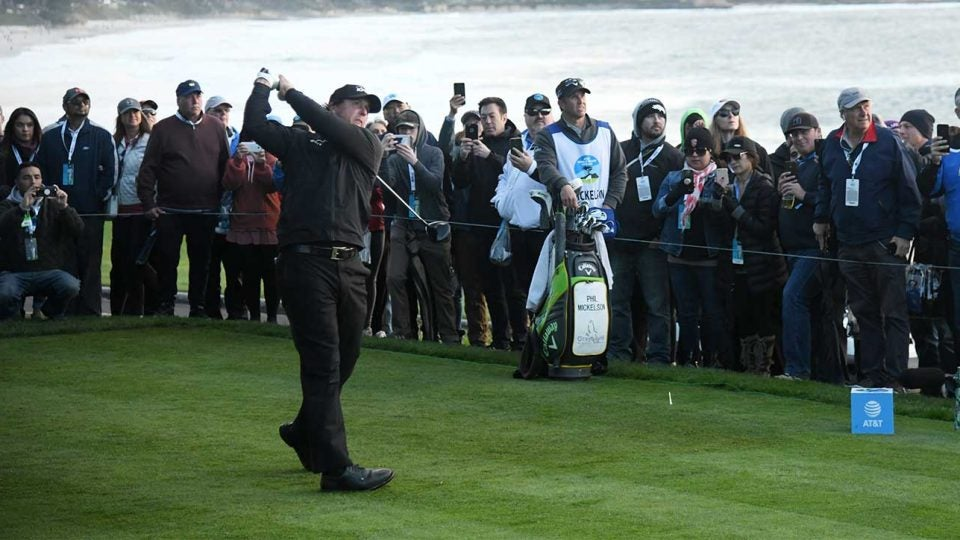 Phil Mickelson tees off during the fourth round of the Pebble Beach Pro-Am.