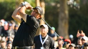 Phil Mickelson tees off during last year's Genesis Open at Riviera