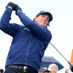 Phil Mickelson hits a drive during the third round of the 2019 AT&T Pebble Beach Pro-Am