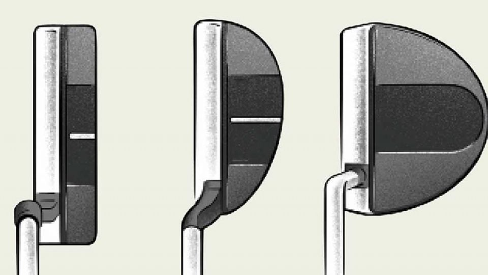 A series of putter heads.
