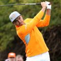 Rickie Fowler watches a tee shot during the final round of the Waste Management Phoenix Open on Sunday.