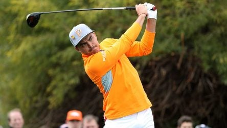 Photo of golfer, orange shirt, Rickie Fowler