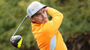 Rickie Fowler hits driver during the final round of the Waste Management Phoenix Open.
