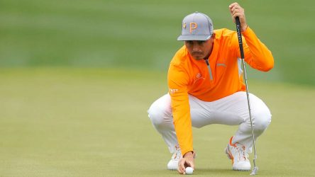 Rickie Fowler reads a putt during the final round of the Waste Management Phoenix Open.
