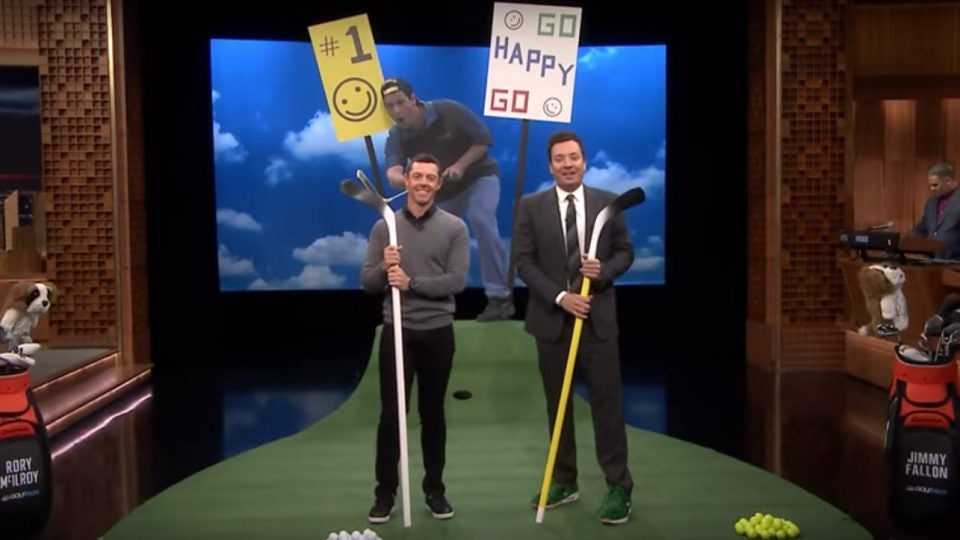 Rory McIlroy and Jimmy Fallon before facing off in the Happy Gilmore Putting Contest on the Tonight Show