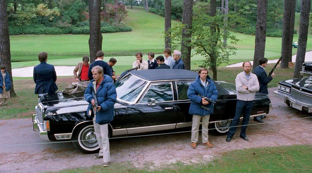 Once news of the pro shop hostage standoff spread, heavily armed Secret Service agents surrounded President Reagan's limousine.