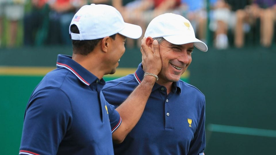 Tiger Woods and Fred Couples at the 2013 Presidents Cup.