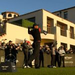 Tiger Woods tees off during the final round of the Genesis Open.