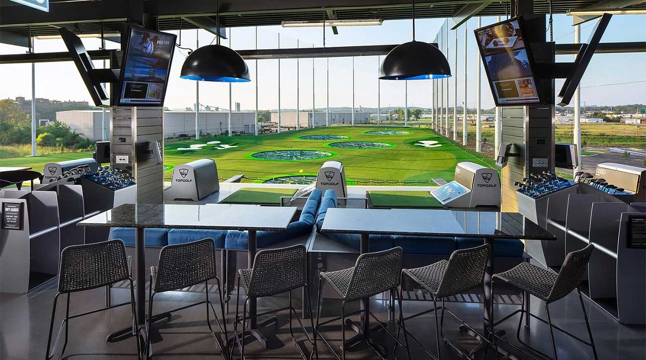 A view from the hitting bay of Topgolf Nashville.