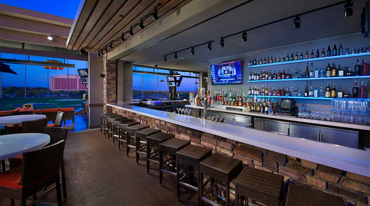 One of the several bar areas at Topgolf Scottsdale.
