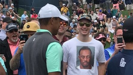 Tiger Woods fan Thomas Wesling caught Tiger's eye at the Players Championship.