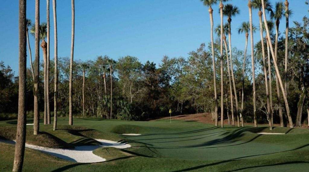 The par-4 sixth hole on the Stadium Course at TPC Sawgrass.