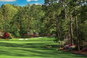A view of the 12th green and 13th tee box from the 13th fairway of Augusta National.
