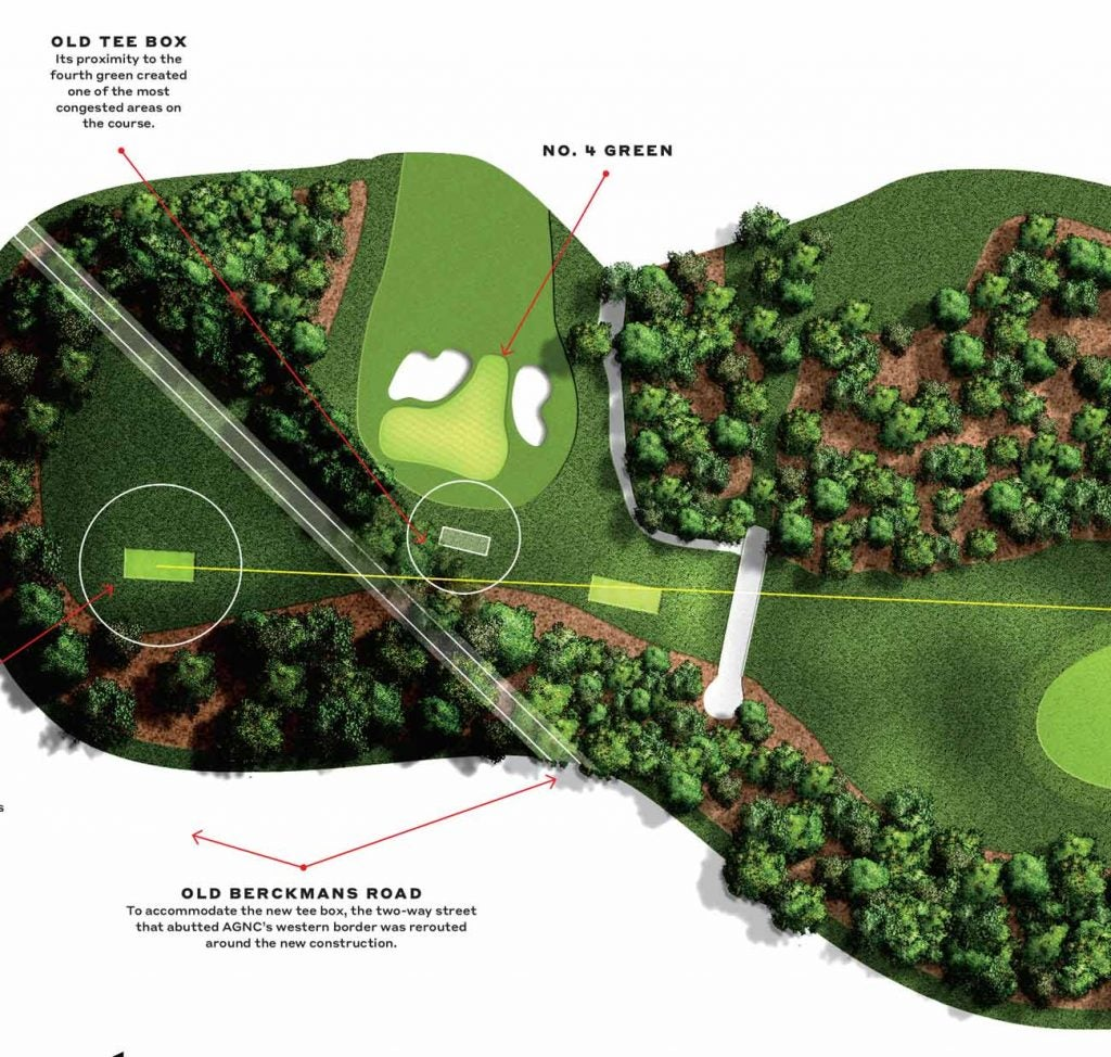 A glimpse at how far apart the old and new tee box at Augusta National's fifth hole is.