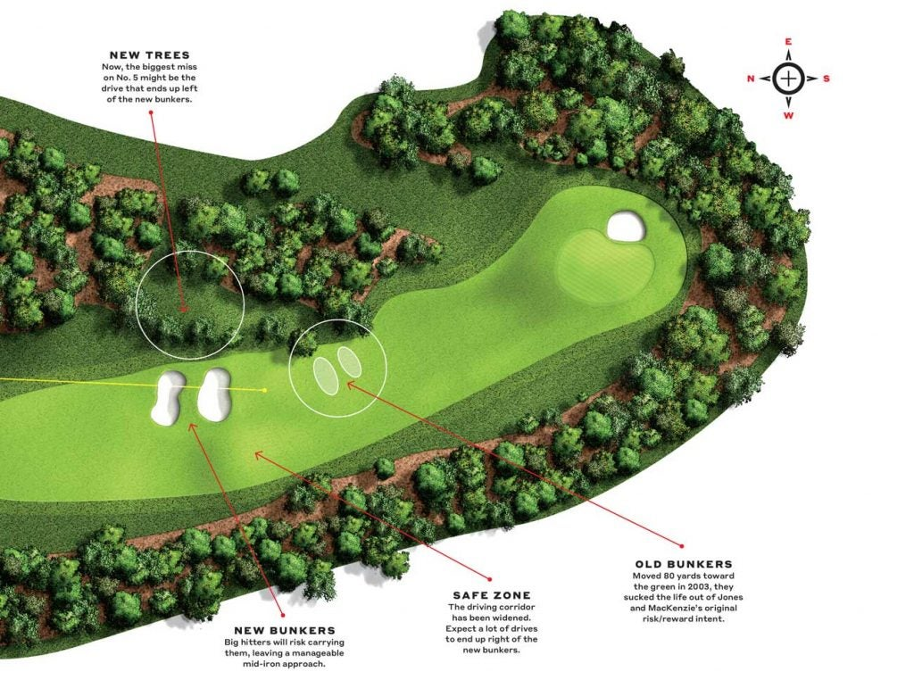 How things look on the fifth hole at Augusta National on the fairway and near the green.