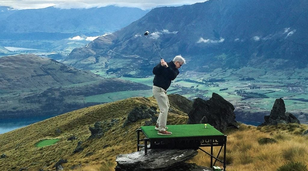 Golfing from an elevated tee overlooking New Zealand? Priceless.