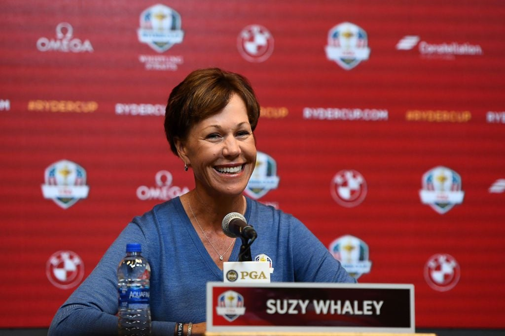 MILWAUKEE, WISCONSIN - FEBRUARY 20: PGA President Suzy Whaley speaks with the media prior to announcing Steve Stricker as the United States Ryder Cup Captain for 2020 on February 20, 2019 in Milwaukee, Wisconsin. (Photo by Stacy Revere/Getty Images)