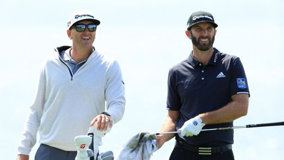 Dustin Johnson and his brother/caddie Austin might be allergic to stairs.