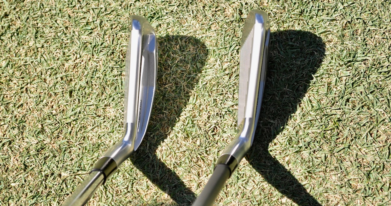 A side-by-side shot of Koepka's slimmed-down Mizuno Hot Metal Pro 3-iron (R) and the retail version (L).