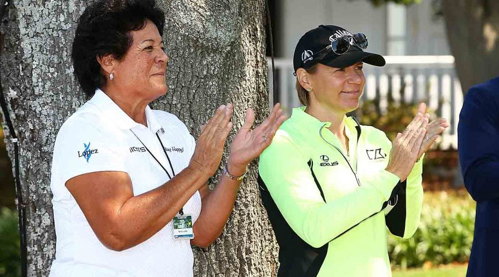 Nancy Lopez and Annika Sorenstam, shown here at Augusta's 2017 Drive, Chip and Putt Contest, will be heavily involved in this year's inaugural Women's Am.