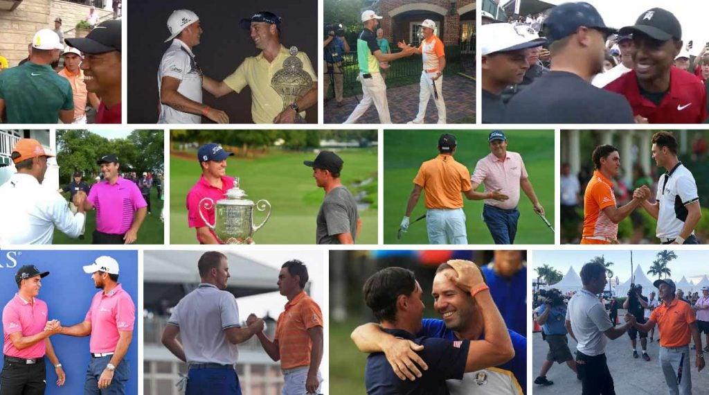 Rickie Fowler sticks around to congratulate PGA Tour winners.