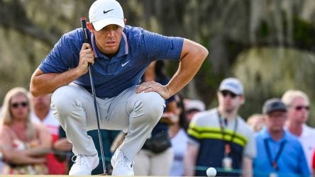 Rory McIlroy lines up a putt during the final round of the Arnold Palmer Invitational.