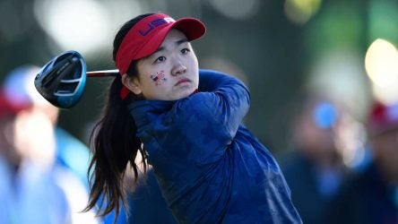 Rose Zhang tees off during the 2018 Junior Ryder Cup in Paris, France.