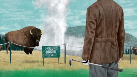 Illustration of golfer looking at ground under repair area