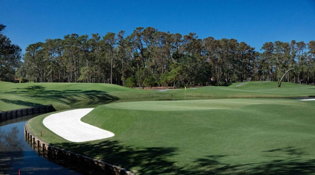 The par-5 11th hole on the Stadium Course at TPC Sawgrass.