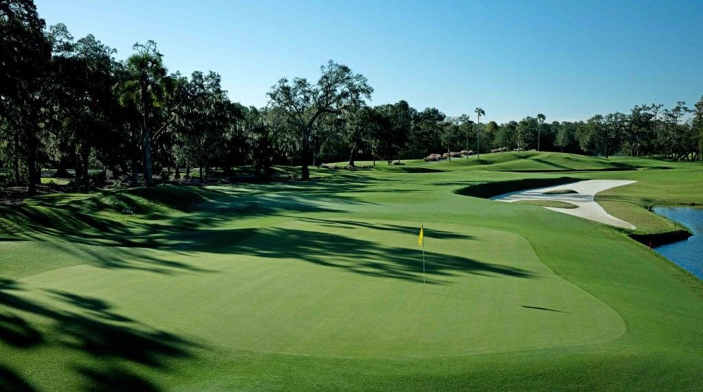 The par-4 12th hole on the Stadium Course at TPC Sawgrass.